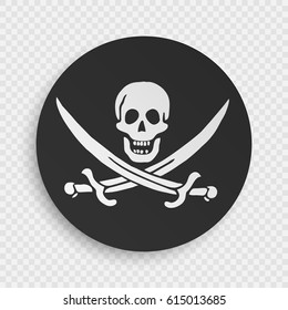 Jolly Roger Sign. Skull and Bones Sign. Black Spot