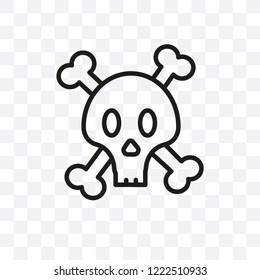 Jolly roger vector linear icon isolated on transparent background, Jolly roger transparency concept can be used for web and mobile