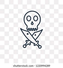 Jolly roger vector outline icon isolated on transparent background, high quality linear Jolly roger transparency concept can be used web and mobile