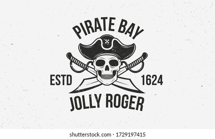 Jolly Roger vintage logo template. Pirate logo with skull and swords. Print for T-shirt, typography. Pirate emblem isolated on white background. Vector illustration