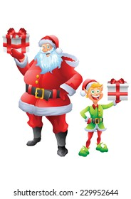 Jolly Santa claus and elf holding christmas present isolated