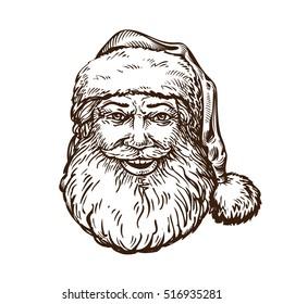Jolly Santa Claus. Sketch vector