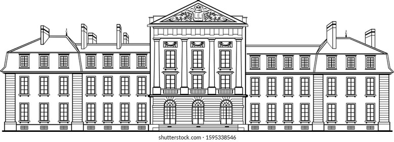 Jombang, East Java / Indonesia - December 22 2019 : High quality line art Illustration of Private 18th Century French Chateau