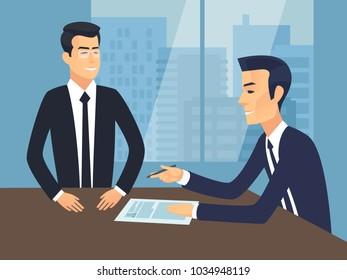 Jon Interview. Employment Vector Illustration.