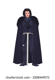 Jon Snow dressed in black clothing. Game of Thrones novel and TV series most popular fictional character isolated on white background. cartoon colorful vector illustration.