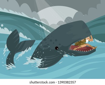 jonah jonas old testament bible tale inside the cachalot whale big fish in the sea