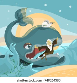 Jonah and the Whale - Bible Story. Cartoon illustration of Noah in the whale's mouth on sea background with waves, moon and stars