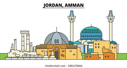 Jordan, Amman. City skyline, architecture, buildings, streets, silhouette, landscape, panorama, landmarks. Editable strokes. Flat design line vector illustration concept. Isolated icons