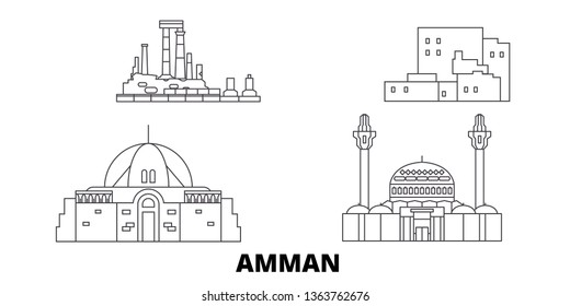 Jordan, Amman line travel skyline set. Jordan, Amman outline city vector illustration, symbol, travel sights, landmarks.