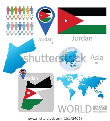 Map Of Asia Jordan.Jordan Flag Asia World Map Vector Stock Vector Royalty Free