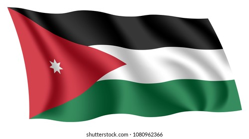 Jordan flag. Isolated national flag of Jordan. Waving flag of The Hashemite Kingdom of Jordan. Fluttering textile jordanian flag.
