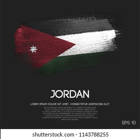 Jordan Flag Made of Glitter Sparkle Brush Paint Vector