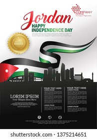 Jordan happy independence day background with waving flag and silhouette city of jordan with award ribbon royalty. Template design layout for card, banner, poster, flyer, card. EPS10
