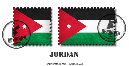 Jordan or Jordanian flag pattern postage stamp with grunge old scratch texture and affix a seal on isolated background . Black color country name with abrasion . Square and rectangle shape . Vector .