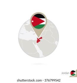 Jordan map and flag in circle. Map of Jordan, Jordan flag pin. Map of Jordan in the style of the globe. Vector Illustration.