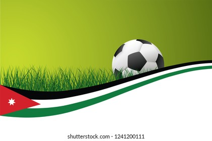 Jordan national flag football Vector World cup uae Soccer green grass field football sport ball  banner background poster wave wallpaper EK WK play model Arabische Aziatisch Asian flag 2019