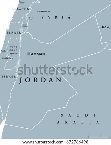 Jordan Political Map Capital Amman Hashemite Stock Vector Royalty