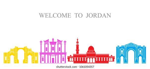 Jordan set. Isolated Jordan architecture on white background. EPS 10. Vector illustration