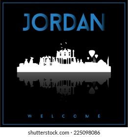 Jordan, skyline silhouette vector design on parliament blue and black background.