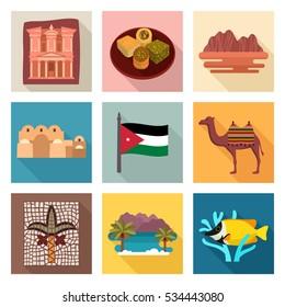 Jordan travel icons