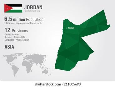 Jordan map imgenes fotos y vectores de stock shutterstock jordan world map with a pixel diamond texture world geography gumiabroncs Image collections