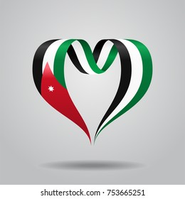 Jordanian flag heart-shaped wavy ribbon. Vector illustration.