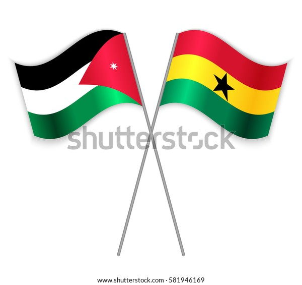 Jordanian and Ghanaian crossed flags. Jordan combined with Ghana isolated on white. Language learning, international business or travel concept.