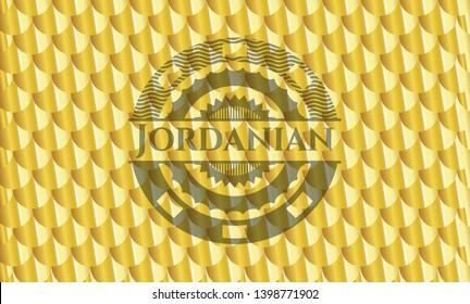 Jordanian gold badge or emblem. Scales pattern. Vector Illustration. Detailed.