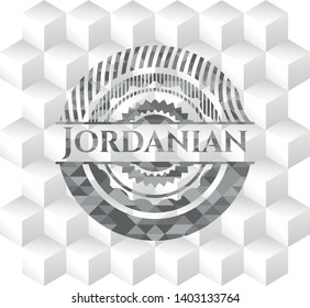 Jordanian grey emblem with cube white background