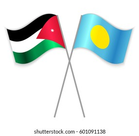 Jordanian and Palauan crossed flags. Jordan combined with Palau isolated on white. Language learning, international business or travel concept.