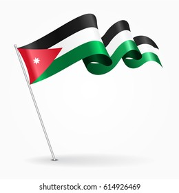 Jordanian pin icon wavy flag. Vector illustration.