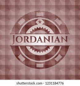Jordanian red badge with geometric pattern. Seamless.