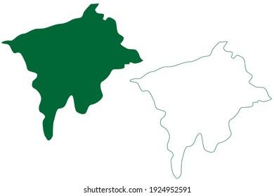 Jorhat district (Assam State, Republic of India) map vector illustration, scribble sketch Jorhat map