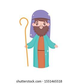 joseph character stars manger nativity, merry christmas vector illustration