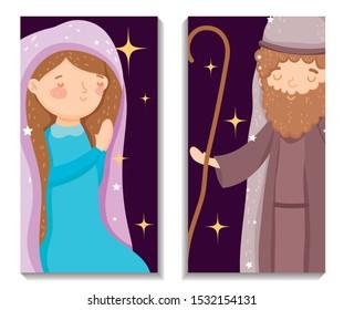 Joseph and Mary characters nativity. Merry Christmas. vector illustration.