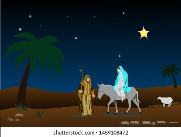 Joseph and Mary in search of a bed for the next nativity of Jesus