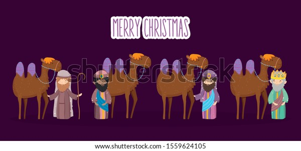 joseph three wise with camels manger nativity, merry christmas vector illustration