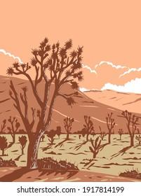 Joshua tree in the Mojave Desert within Joshua Tree National Park in California and Nevada WPA Poster Art