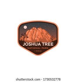 Joshua Tree National Park California Night Logo Badge Emblem  Sticker Illustration Vector Design