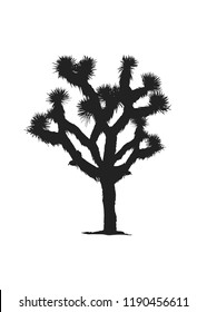 Joshua Tree Nature Plant, Joshua Tree National Park, Tree, Desert Cactus Isolated Vector Silhouette Illustration Background