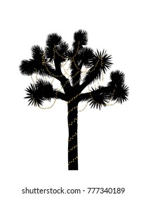 Joshua tree silhouette decorated with christmas lights. Vector illustration