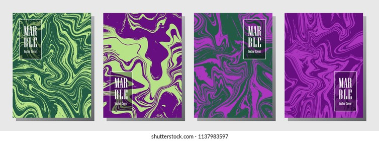 Journal cover or party flyer marble background design collection. Fashionable brochure, booklet, magazine cover, party banner, poster, journal background templates. Marble artwork.