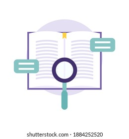 a journal information search icon concept. illustration of a book, magnifying glass, message symbol. education, literature, and sources of knowledge. flat style. vector design elements.