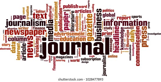 Journal word cloud concept. Vector illustration