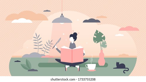 Journaling vector illustration. Writing daily diary flat tiny persons concept. Self expression in text note as psychological trauma therapy or treatment. Style of communication as stress reliever.