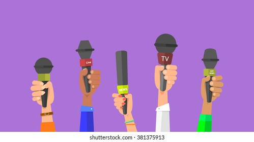 Journalism concept . Set of hands holding microphones. Press hands flat hand. Microphone. Hands holding microphones. Journalist. Microphone vector. Set of microphones Isolated. Hand with microphone.