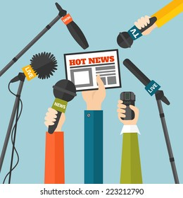 Journalism concept vector illustration in flat style. Set of hands holding newspaper, microphones and voice recorders. Hot news template. Press illustration
