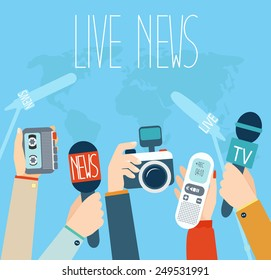 Journalism concept vector illustration in flat style, live report concept, live news, hands of journalists with microphones, camera and tape recorders.