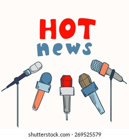 Journalism concept vector illustration with microphones and hot news text, press concept idea