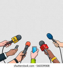 Journalism concept vector illustration in pop art comic style. Set of hands holding microphones and voice recorders. Hot news template.